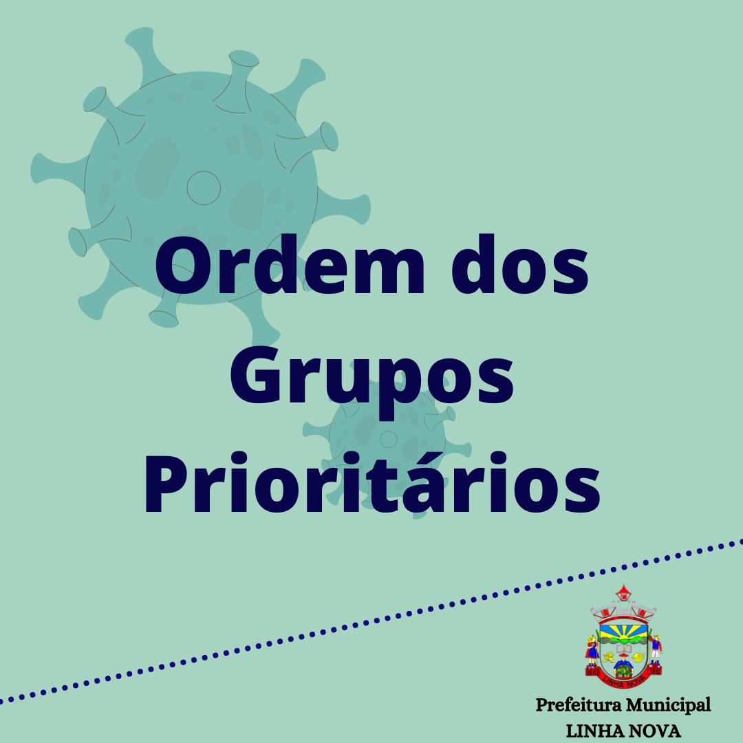 ORDEM DOS GRUPOS PRIORITÁRIOS