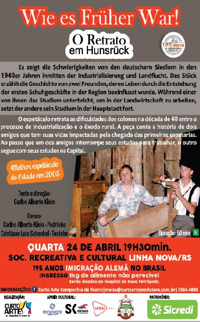Teatro que conta história da colonização alemã será apresentado em Linha Nova