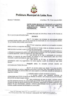 Decreto suspende aglomerações e aulas na rede municipal
