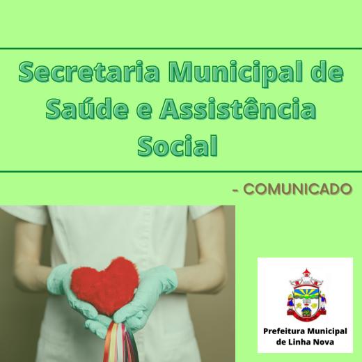 Comunicado da Secretaria Municipal de Saúde e Assistência Social