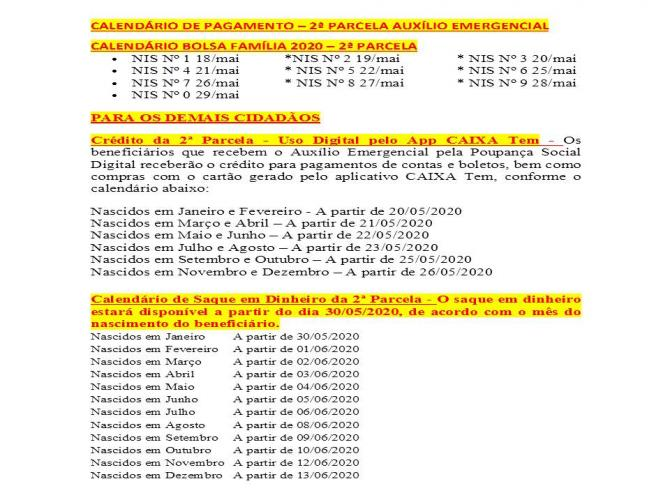 Calendário de pagamento do auxílio emergencial