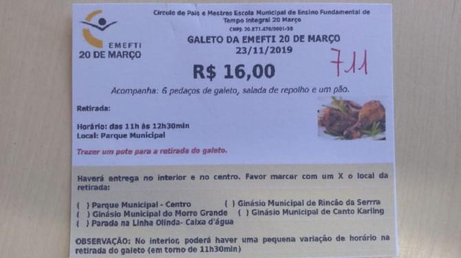 CPM da Emefti 20 de Março está organizando galeto