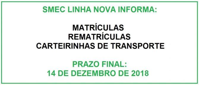 Matrículas, Rematrículas e Carteirinhas de Transporte devem ser feitas até 14 de dezembro